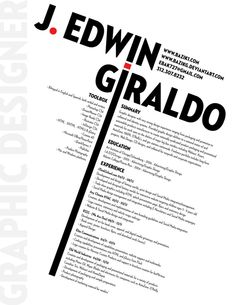 J. Edwin Geraldo's Resume. 20 Innovative Resume Examples. #resume #design #inspiration
