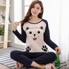 Check out this product on Alibaba App Cartoon Printed Sleepwear Set Soft Loose Home Clothes Long Sleeve Women Pajamas Sets Cute Sleepwear, Cotton Sleepwear, Sleepwear Sets, Sleepwear Women, Cute Pajamas, Girls Pajamas, Pajamas Women, Long Sleeve Pyjamas, Long Sleeve Tops