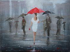 Modern Painting Girl Red Umbrella Original Art Acrylic Canvas