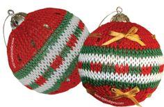 Bolitas navideñas tejidas en dos agujas o palillos