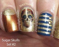 SUGAR SKULL No 2 Nail Decal  in Floral and Cross Nail Art  Nail Designs NAILTHINS on Etsy