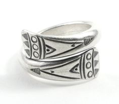 Handmade Sterling Silver Spiraling Wrap Ring, Ethnic Tribal Geometric Engraved Adjustable Wide Band Ring, Also as Thumb ring, Men or Women Sterling Silver Thumb Rings, Handmade Sterling Silver, Wide Band Rings, Rings Cool, Silver Necklaces, Silver Jewelry, Unique Jewelry, Native American Jewellery, Boho Rings