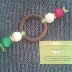 Hochet bois montessori - 4 perles + anneau bois