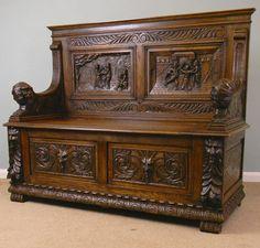 "Victorian Oak Hall Seat, Monks Bench, Settle Height 39"" Width 48"" Depth 18 1/2"" Seat Height 17 1/4"""