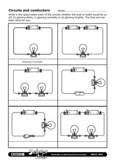 Printables Electrical Circuit Worksheets activities circuit diagram and worksheets on pinterest bbc schools science clips circuits conductors worksheet