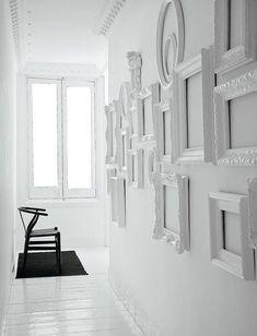 white spray painted frames