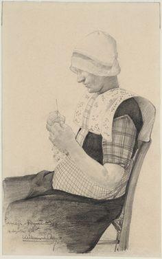 Hakende vrouw in de dracht van Eemdijk 1933 kunstenaar: Berg, prof. Willem van den #Utrecht #Spakenburg