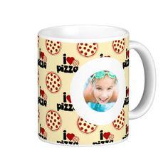 I Love Pizza Cartoon Pattern Custom Photo Coffee Mug more beautiful customized photo mugs with your image at www.mouseandmarker.com
