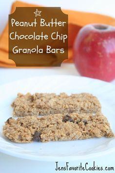 Peanut Butter Granola Bars via @JenSto2t