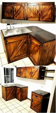 Rustic Creations Out of Used Wood Pallets Be creative and design your own rustic furniture for your kitchen. This beautiful designed kitchen furniture is also designed in a delicate designing pattern. Crafted with the unique drawers and cabinets creation. Wooden Pallet Furniture, Wooden Pallets, Rustic Furniture, Furniture Design, Kitchen Furniture, Furniture Stores, Cheap Furniture, Antique Furniture, Furniture Removal