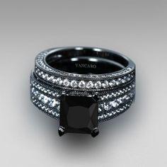 Black Engagement Ring for Women Black Cubic Zirconia Asscher Cut Wedding Ring Set