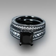 Black Engagement Ring for Women Black Cubic Zirconia Asscher Cut Wedding Ring Set