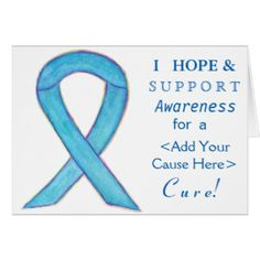 Blue Awareness Ribbon Custom Cause Note Cards