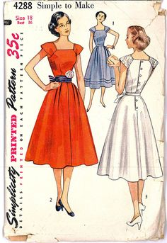 1950s FACTORY FOLDED Party Dress with Cap Sleeves Button Back Bodice Gored Skirt Vintage Sewing Pattern Simplicity 4288 Bust 36
