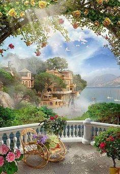 belles images - Page 3 Fantasy Art Landscapes, Fantasy Landscape, Landscape Art, Landscape Paintings, Beautiful Nature Wallpaper, Beautiful Paintings, Beautiful Landscapes, Beautiful Sites, Beautiful Gardens