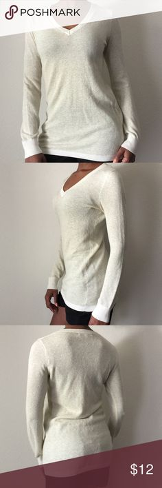 BCBG Paris cream and gold long top Final sale price then deleted. Thin knit cream and gold top. Great for leggings and skinny jeans BCBG Tops