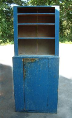 Country stepback blue cupboard Maine c1840