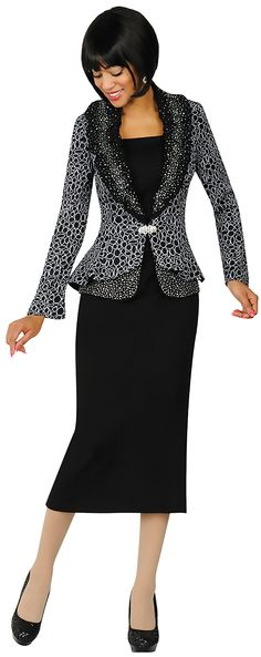 Womens Knit Suits Todd and Olivia TDC94333-BlackWhite