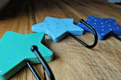 wooden star wall hooks hand painted children's by oscarandollie, $38.00
