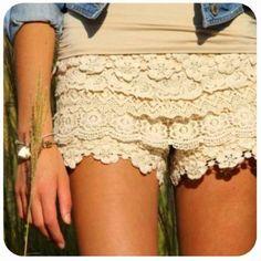 Lace shorts Diy Lace Shorts, Crochet Shorts, Cute Shorts, Crochet Lace, Short Shorts, Beige Shorts, Lace Pants, Lace Shorts, Summer Styles