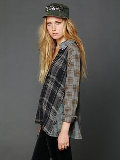 Artisan De Luxe Plaid Hi Low Buttondown Tunic at Free People Clothing Boutique