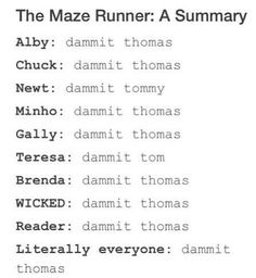 So true. I love how it makes sure that Teresa says Tom and Newt says Tommy. Newtmas Even though i like Brenda better. Maze Runner Funny, Maze Runner The Scorch, Maze Runner Movie, Maze Runner Trilogy, Maze Runner Series, The Scorch Trials, Book Series, Hunger Games, In This World
