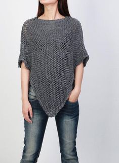 This hand knitted beautiful poncho is made of 100 eco cotton yarn that is soft and no itchy. It is a perfect item for you in Summer/ Fall that you Crochet Shawl Free, Knit Shrug, Knitted Poncho, Knitted Shawls, Crochet Stitches, Knit Crochet, Poncho Knitting Patterns, Knitting Yarn, Knit Patterns