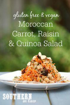 Moroccan Carrot Raisin and Quinoa Salad - gluten free, grain free, high protein, vegan, vegetarian, dairy free, egg free, meat free, sugar free, clean eating recipes