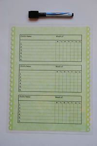 magnetic, laminated chore charts for multiple children $9.99