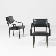 Jacques Adnet; Enameled Metal, Leather and Brass Armchairs, 1950s.