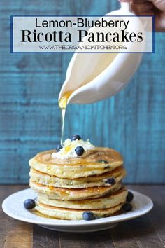 Today I had a startling realization. I have never posted a pancake recipe on my blog. I decided I needed to remedy that situation stat! I made a run to the store for some fresh blueberries and ricotta, picked some lemons off my tree and voila! Lemon-Blueberry Ricotta Pancakes.