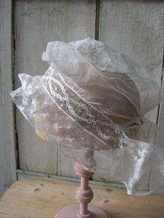 Antique French 1880s hand embroidered whitework & applique lace cap bonnet