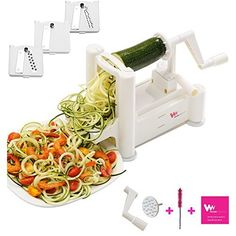 Spiralizer Tri-Blade Vegetable Slicer, Strongest-and-Heaviest Duty, Lifetime Replacement, Best Veggie Pasta & Spaghetti Maker for Low Carb/Paleo Healthy Vegetable Meals