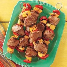 Mangos are delicious when grilled. Get creative by pairing them with pork and other fruits and veggies on a kebab.