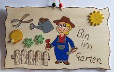 Tür- & Namensschilder - Türschild Bin im Garten - ein Designerstück von Juretko-Marion40 bei DaWanda