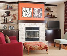 DIY Fireplace Surround Perk up an old fireplace with this DIY fireplace remodeling project that uses stone veneer to completely transform the look of a fireplace facade.