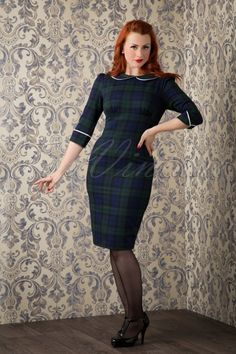 The beautiful Tina Rockit wearing our 50s Doralee Pencil Dress in Dublin Tartan by Bunny! #TinaRockit