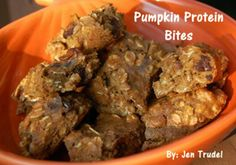 Chocolate Pumpkin Protein Bites by Jen Trudel Clean Recipes, Easy Healthy Recipes, Snack Recipes, Cooking Recipes, Diet Recipes, Recipies, Healthy Sweets, Healthy Baking, Healthy Snacks