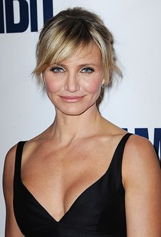 Cameron Diaz Diaz has sharp features and an athletic bod, but side-swept bangs really soften her look.