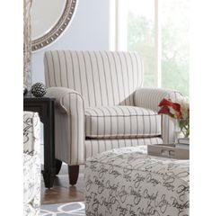 Yardley Accent Chair -We like the tailored look this neutral, matched pin stripe brings to the Yardley accent chair. Just enough shaping is paired with this crisp look. Basement Living Rooms, Living Room Art, Furniture Mattress, Furniture Sets, Art Van, Chair Fabric, First Home, Sofas, Crisp