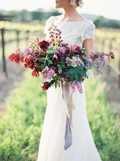 Purple Garden Glam Wedding Inspiration - Photo shoot featured on Style Me Pretty - Beloved Wedding Dress Purple Wedding Bouquets, Fall Wedding Flowers, Bride Bouquets, Bridesmaid Bouquet, Floral Wedding, Wedding Colors, Floral Bouquets, Bridesmaids, Boquette Wedding