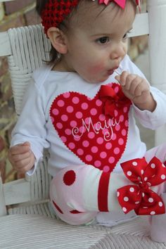First Valentine's Day outfit (minus the bow)? Valentine Shirts, Valentines Outfits, Be My Valentine, Holiday Clothes, Holiday Outfits, Sewing Crafts, Sewing Projects, Diy Crafts, Baby Girl Valentine Outfit