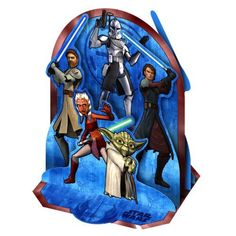 """Star Wars: The Clone Wars Centerpiece by Rubies. $9.99. Star Wars Centerpieces. 1 per package.. Star Wars: The Clone Wars Centerpiece is made of cardboard with the Jedi Masters Obi-Wan Kenobi, Yoda, Anakin Skywalker, Padawon Ahsoka Tano and Commander Rex in 3D showing on both sides. Centerpiece measures approximately 12.75"""" high. This is an officially licensed STAR WARS product. The Clone Wars (c)2008 Lucasfilm Ltd. & TM. All rights reserved."""