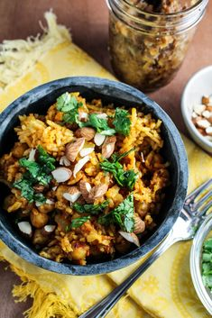 Pakistani Chickpea Pulao with Hot-Sweet Date-Onion Chutney
