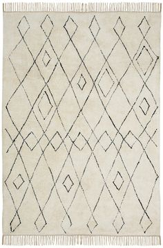 Tamala Cream Tribal Pattern Cotton Rug - Miss Amara (AU) Natural Fiber Rugs, Natural Rug, Geometric Rug, Tribal Rug, Black White Rug, White Rugs, Tribal Patterns, Diamond Pattern, Modern Rugs