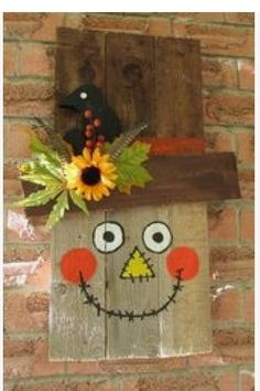 Step by step instructions with photos! Oh my goodness I love scarecrows! Pallet Crafts, Pallet Art, Wood Crafts, Pallet Wood, Barn Wood, Thanksgiving Crafts, Holiday Crafts, Holiday Fun, Thanksgiving Letter