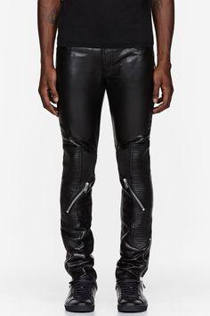 SAINT LAURENT Black leather ribbed & zippered biker pants