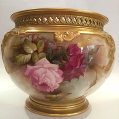 Antique Royal Worcester Hand Painted Roses Jardiniere Signed R Austin | Pottery, Glass, Pottery, Porcelain, Royal Worcester | eBay!