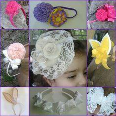 Jm Handmade lace , floral poms, bunny ears headband