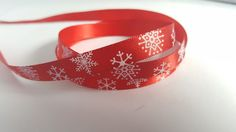 3m Ribbon - Printed Satin - 9mm - Snowflakes - Red